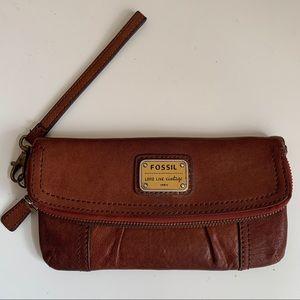 Fossil genuine leather vintage wristlet